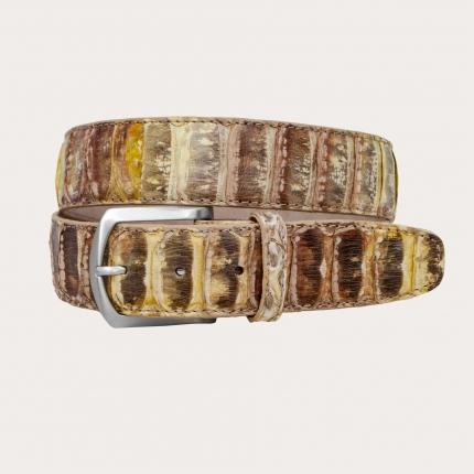 Cintura alta in vero pitone gialla marrone e verde