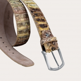 Genuine python leather nickel free belt, yellow green and brown