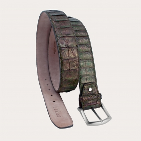 Genuine python leather belt with nickel free buckle, green and gold