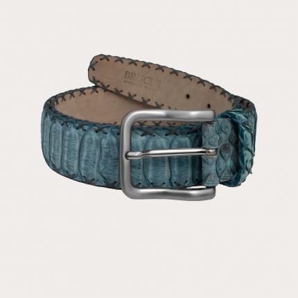 Cintura alta in vero pitone nabuccato azzurro