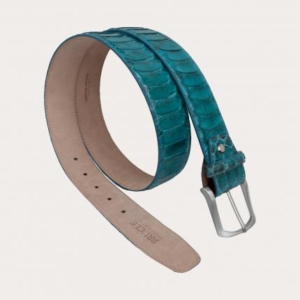 Genuine python leather nickel free belt, light turquoise