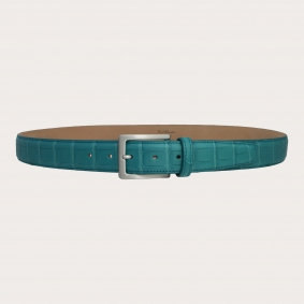Brucle alligator belt light blue nickel free