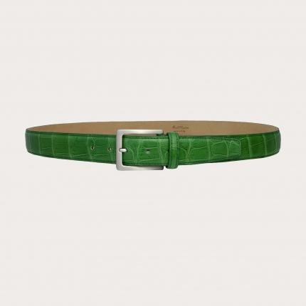 Cintura in alligatore verde con fibbia nichel free