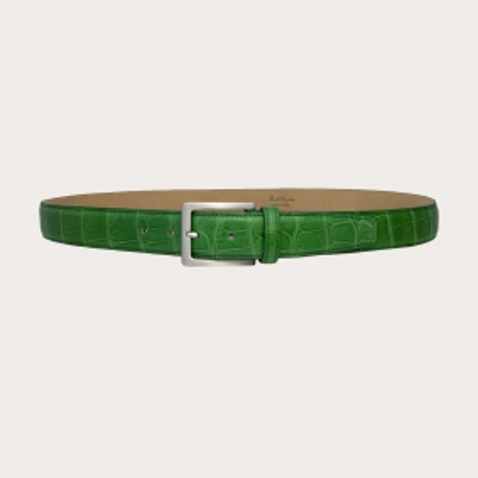 Genuine alligator leather nickel free belt, green