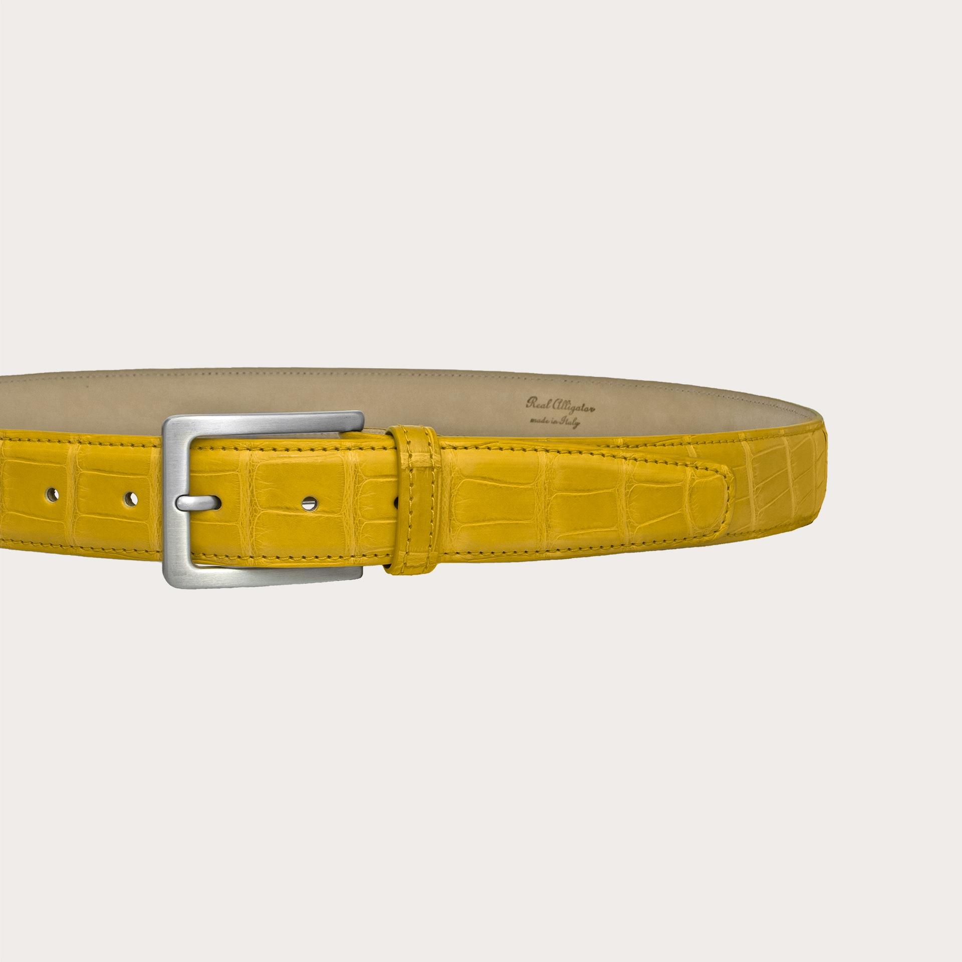 Brucle Cintura gialla in alligatore con fibbia nichel free