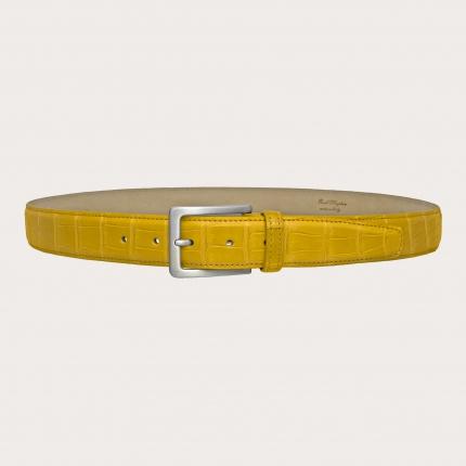 Brucle alligator belt yellow nickel free