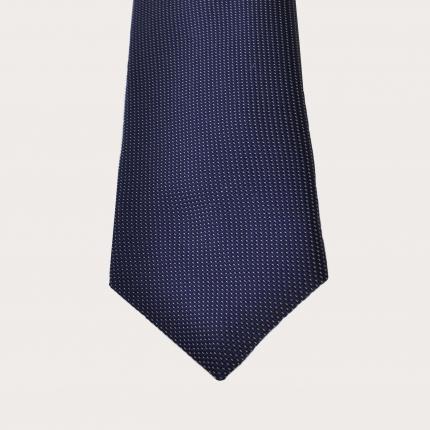 Brucle Cravatta blu puntaspillo in seta jacquard