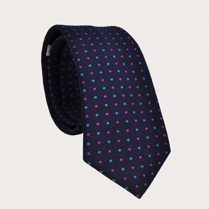 Brucle Cravate bleue à pois en soie et coton jacquard
