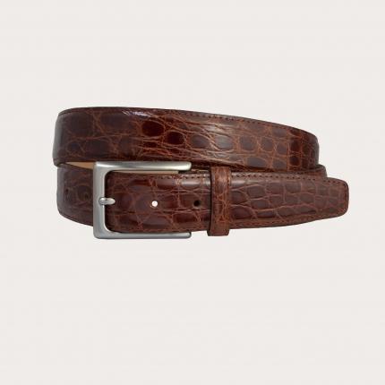 Brucle Cintura in fianco di coccodrillo marrone legno