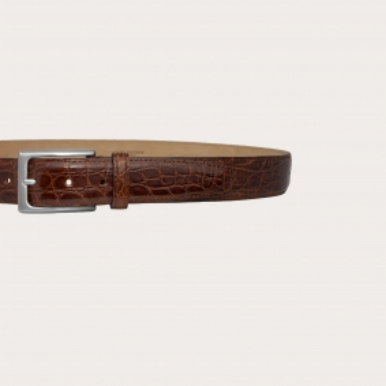 Brucle Genuine crocodile flank leather belt, brown