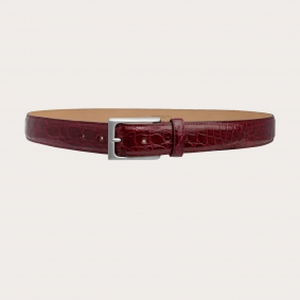 Cintura elegante vero fianco di coccodrillo bordeaux