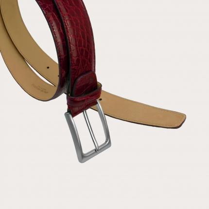 Genuine crocodile flank leather belt, black