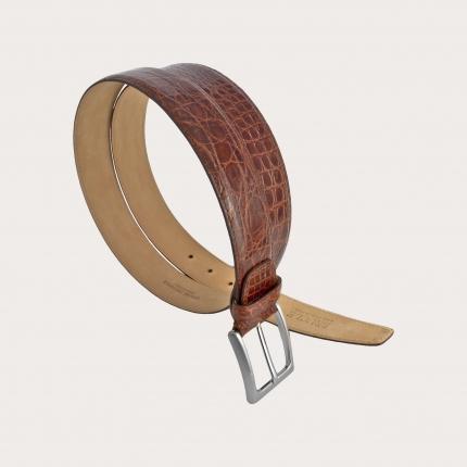 Cintura elegante in coccodrillo colore gold