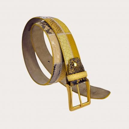 Brucle cintura gialla in pitone lavorazione patchwork fibbia oro made in italy