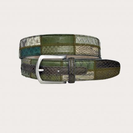 Brucle herren damen gurtel python grun patchwork made in italy