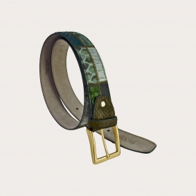 Genuine python leather belt green patchwork with gold buckle