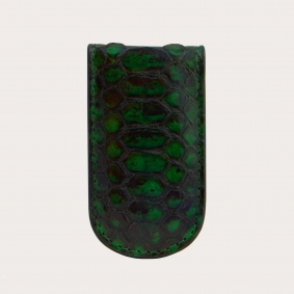 Fermasoldi magnetico in vera pelle di pitone, verde
