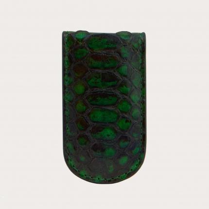 Pince à billets vert en cuir python