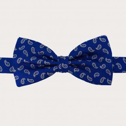 Papillon blu in seta fantasia paisley