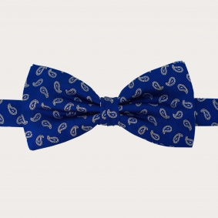 Silk Pre-tied Bow Tie blue paisley