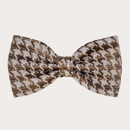 Silk pre-tied bow tie, beige pied de poule