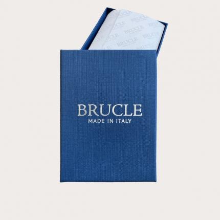 BRUCLE Silk blue pied de poule pre-tied bow tie