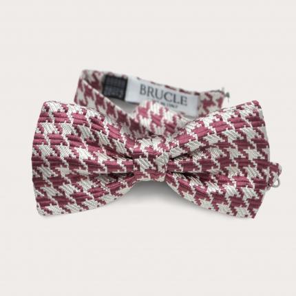 Silk pre-tied bow tie, pink pied de poule