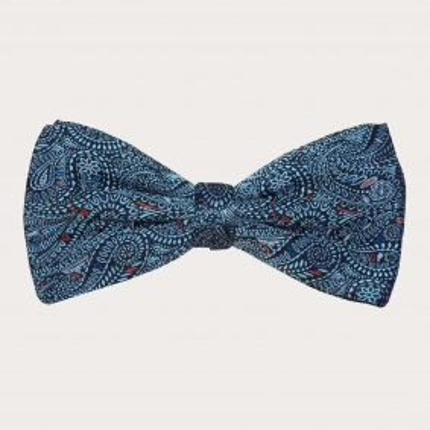 Silk pre-tied bow tie, blue cachemire pattern