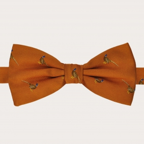 BRUCLE silk pre-tied bow tie in orange with pheasants