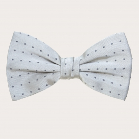 SILVER SILK BOW TIE WITH WHITE DOTS MOTIF