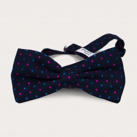 Silk pre-tied bow tie, blue dotted pattern