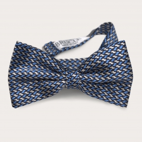 Silk pre-tied bow tie, blue and silver geometric patten