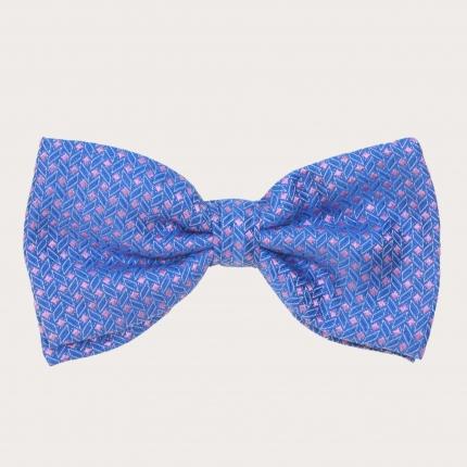 Papillon in seta, fantasia geometrica blu e rosa