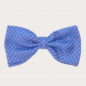 Silk pre-tied bow tie, blue and pink geometric patten