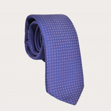 BRUCLE Cravatta in seta azzurra e rosa fantasia geometrica
