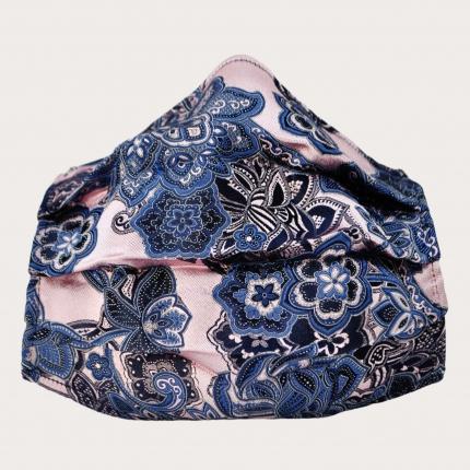 Masque en tissu filtrant en soie rose, paisley
