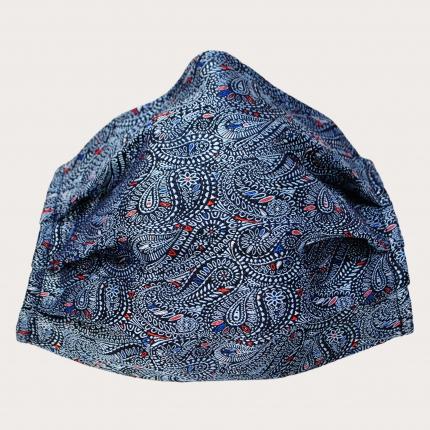 Masque en tissu filtrant en soie, bleu cachemire paisley