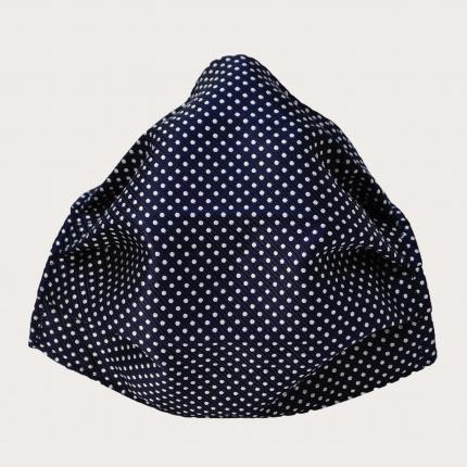 Masque filtrant bleue fantaisie à pois en soie