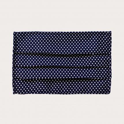 StyleMask Mascherina facciale filtrante blu a pois in seta