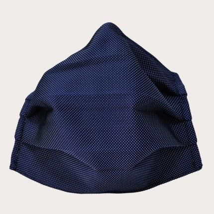 masque en tissu lavable filtrant et soie bleue à pois