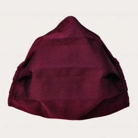 Fashion washable protective fabric mask, silk, red bordeaux