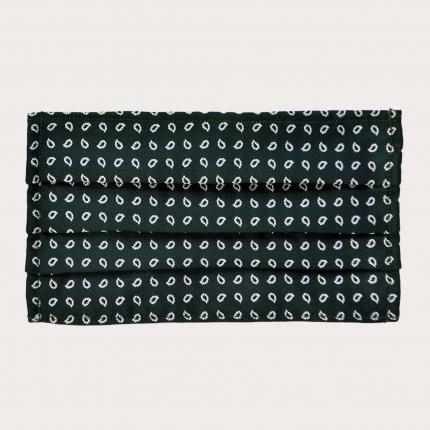 Masque en tissu filtrant en soie vert, paisley