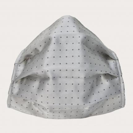 Wiederverwendbare stoffmaske seiden, grau gepunktetes Muster