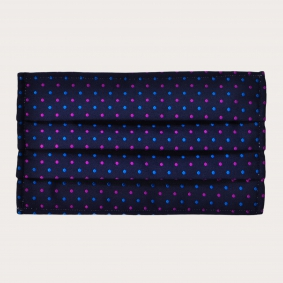 Silk protective facemask, blue multicolor dotted pattern