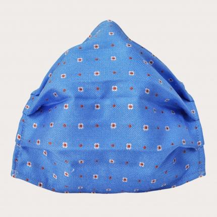 StyleMask Seidenfilter Gesichtsmaske, Hellblaues Motiv mit Blumen