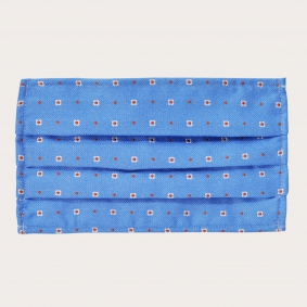 Silk protective facemask, blue pattern with flowers