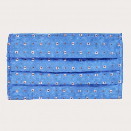StyleMask Mascherina facciale filtrante in seta, motivo azzurro a fiori