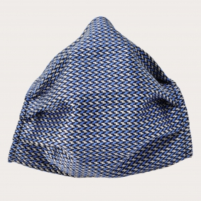 Silk protective facemask, silver and blue geometric pattern