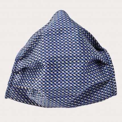 StyleMask Seidenfilter Gesichtsmaske mit geometrisches Muster in Silber und Blau