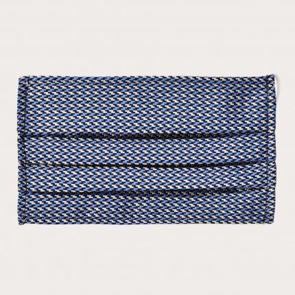 StyleMask Mascherina facciale filtrante in seta, motivo geometrico argento e blu